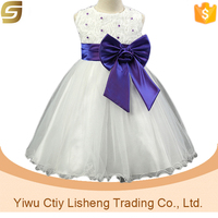 For 2-7 years old girls bowknot white red fashion Korean kids free prom dress