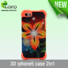 blank 3D 2IN1 sublimation printing phone cases for iPhone5