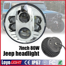 Powerful jeep headlight 80w high low beam 7 inch round led waterproof lights