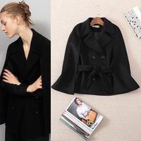 Best Grade New Designer Coat Suit 2015 Winter Women Brand Wool Double Breasted Vest Coat+Shawl Outerwear Woolen(1Set)2 Pieces