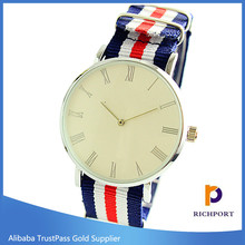 Custom ladies men slim leather nylon strap watches