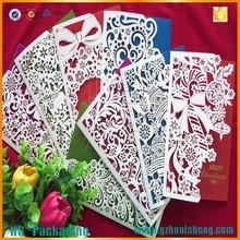 Láser de corte de las tarjetas de papel hechos a mano tarjetas de felicitación diseños para venta al por mayor