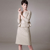 Elegant lady lace suit woman pleated design skirt suit