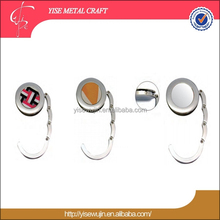 Unique idea Customized famous brand logo metal round purse hook