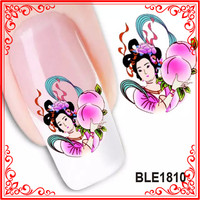 BLE1808-1818 New Design Wholesale 50 Sheets Water Nail Flower Vintage Nail Sticker