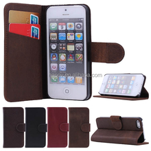 Napov-High Quality Left & Right Side Flip Real Leather Wallet Case for Iphone 5