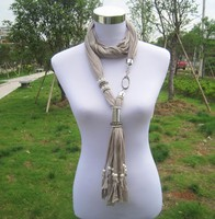 Top Fashion Pendant Jewelry Scarf Necklace Wholesale With Beads Tassels