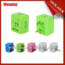 2014 new hot sales female to male electrical plug adapter with usb port and 1 year guarantee