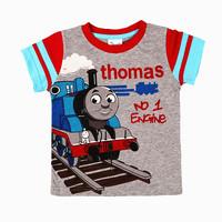 2-6T (B8101#grey) Hot sale thomas t shirt cartoon the train t-shirts for kids tshirt boys clothing Children tshirts wholesale