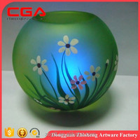 Flower design glass candle holder flowery round glass candle holder for home decor