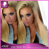 130% density straight brazilian 100% virgin remy long #613 blonde color human hair full lace wigs with free part in dubai
