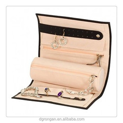 china wholesale fashion jewelry with zipper for black leather jewellery travel roll case / bag / box C01-559