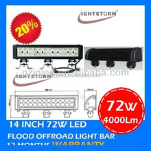 Quad row 4x4 led light bar 15 inch led light bar taiwan 72w led headlight car motorcycles