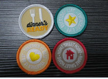 customized 2014 cute oval adhesive back embroidery edge patch ,embroidery label