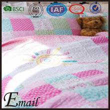 China lovely print fake patchwork kids quilt cotton bedding set cartoon
