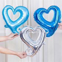New design foil beautiful 18 inch blue hollow heart balloon