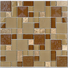Tawny flower crystal glass mosaic and natural stone tile mix