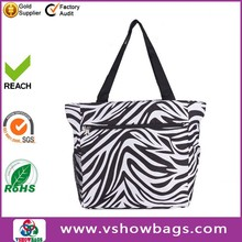 600 D Polyester Beach Handbag Zebra Print Travel Tote Bag
