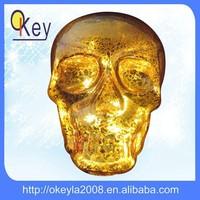 Party decoration glass gold LED Hallowmas skull light