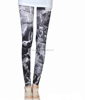 sexy letters newspaper pattern printed stretch Denim Leggings pants