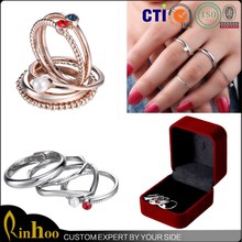 5Pcs/set rose gold plated silver plated rings pearl finger rings for women above ring set with fashion jewelry gift box