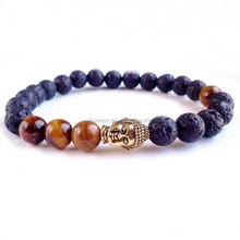 buddha bead bracelet tiger eye bead with lava bead elastic bracelet for men