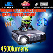 4500lumen Android4.2.2 Full HD LED LCD 3D Wifi smart Projector 220W LED 50000hrs Wireless connect with iphone ipad laptop tablet