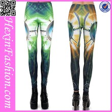 Green and Yellow Tailored Quality Digital Print Pants Leggings