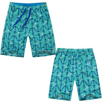 Wholesale cheap mint green printing beach pants quick dry compression men cargo board shorts E031