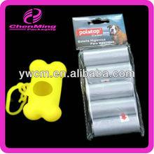 China Yiwu yellow plastic bone shaped pet waste bag dispenser