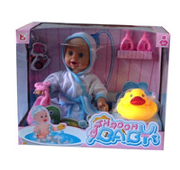 frozen bath baby doll toy with duck animal accessory