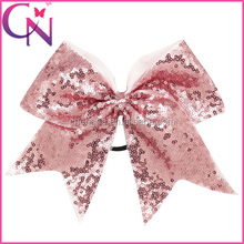 8 inch Sequined Big Size Cheer Bows , Elastic Hair Ponytail Band for Girls