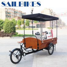 electric tricycle with wooden box for selling coffee