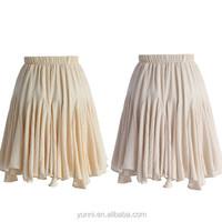 Nude Pink Women Frilling Skater Crepe Skirt Ladis cotton-linen blend skirt