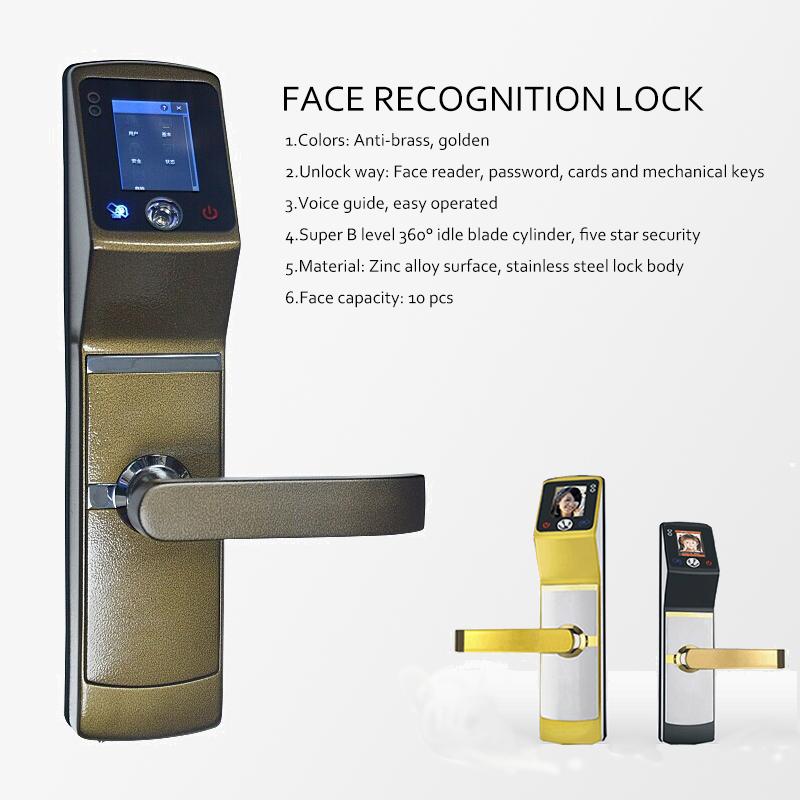 Zinc Alloy Keyless Digital Smart Face Recognition Lock Waterproof