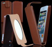 Wholesale New fashion mirror flip PU leather case for iphone 5 5G 5TH 5pcs/lot ,for iphone5g case