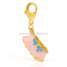 Enamel Pink Lady Short Skirt Charms Pendants With Lobster Clasp Nickel Free