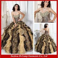 QU-091 Leopard print wedding dress sexy leopard print prom dress ball gown