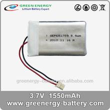 3.7v li-ion polymer battery 653759 1500mah