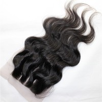 Homeage new product 7A grade human hair body wave 3 part silk base lace closure