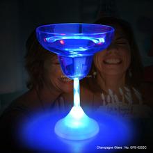 2015 New style birthday gift led flashing glass blue light 230ml led margarita cup