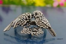 HR0077 Antique silver animal design double love birds two fingers ring