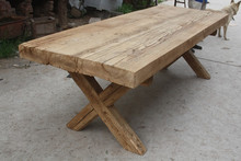 vintage reclaimed thick wood slab dining table