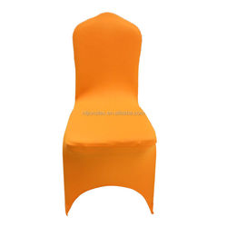 orange spandex chair cover with a front arch