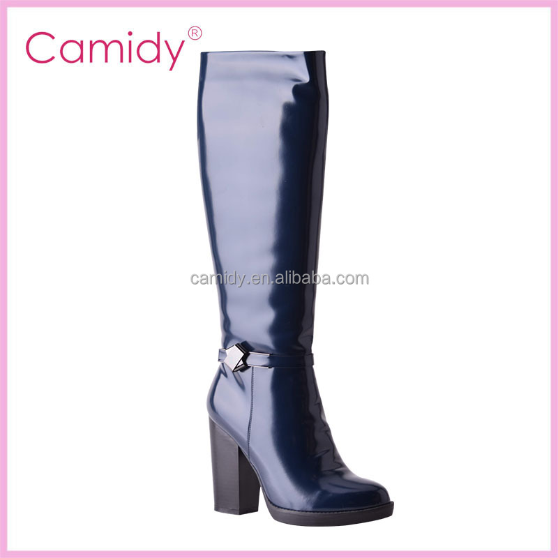 2015 wholesale flat heel shiny black knee high boots