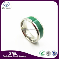 Mens women enamal stainless steel Tungsten Ring,unique gree blue rings jewelry