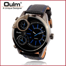 Oulm 3 time zone wristwatch, cheap wrist watches for men, waches 2015