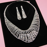 victorian inspired silver crystal necklace set