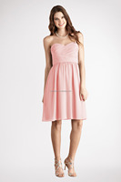 2014 Ordinary sweetheard ruffles chiffon short bridesmaid dress Safe for all ages made in china