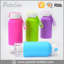 high-end clear sport water bottle with silicone rubber